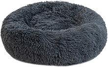 Round Plush Cat Bed Dog Warm Soft Comfortable