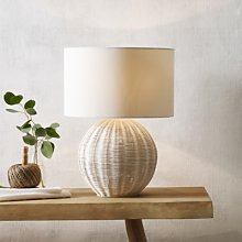 Round Rattan Table Lamp, Natural, One Size