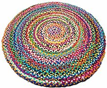 Round Recycled Mat Cotton Handmade Multi Colored