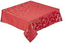Round Red Christmas Tablecloth 68 inch (173 cm)