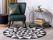 Round Rug Black and White Cowhide Leather ø 140