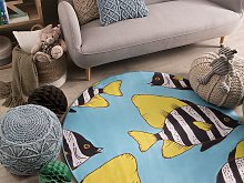 Round Rug Blue and Yellow Printed Fish ø 140 Low