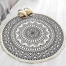 Round Rug, Cotton Round Area Rug with Tassels,