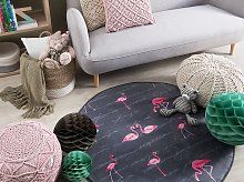 Round Rug Grey and Pink Printed Flamingos ø 120