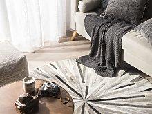 Round Rug Grey Leather Patchwork ø 140 cm