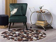 Round Rug Multicolour Brown Leather ø 140 cm
