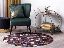 Round Rug Multicolour Purple Leather ø 140 cm