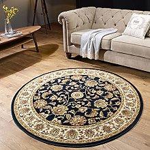 Round Rug Navy Blue Cream for Living Room Bedroom
