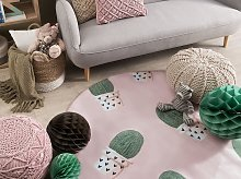Round Rug Pink and Green Printed Cactus ø 140 Low