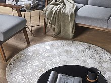 Round Rug Silver with Beige Cowhide Leather ø 140
