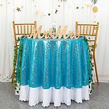 Round Sequin Tablecloth 48-Inch Aqua Small