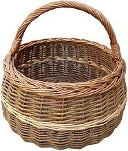 Round Shallow Shopping Wicker Basket Beachcrest
