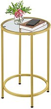 Round Side Table with Tempered Glass Top Accent