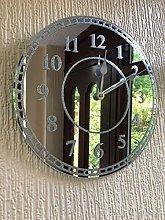 Round SILVER SPARKLE GLITTER MIRRORED WALL CLOCK