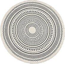 Round Small Area Rug with Chic Pom Pom Fringe