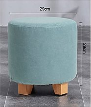 Round Small Low Stool Upholstered, Removable Cloth