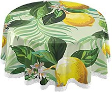 Round Table Cloth Leaves Cotton Line Table Cover