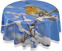 Round Table Outdoor Cover Cute Bird Robin Winter