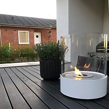 Round table-top bioethanol fireplace - white