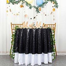 Round Tablecloth 180cm Glitter Tablecloths Black