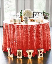 Round Tablecloth 180cm Sequin Tablecloth Red Table