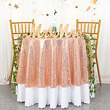 Round Tablecloth 48-Inch Rose Gold Sequin
