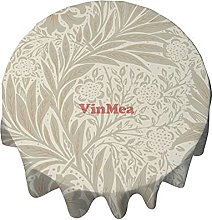 Round Tablecloth 50 Inch Yellow Leaf Vintage