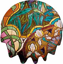 Round Tablecloth 54 Inch - Art Nouveau Stained