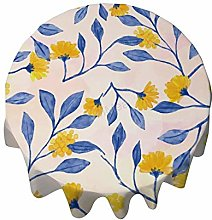 Round Tablecloth 54 Inch - Watercolor Flowers