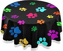 Round Tablecloth Colorful Animal Paw Print Table