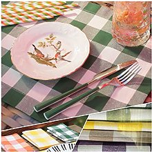 Round Tablecloth Egyptian cotton gingham (Forest