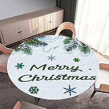 Round Tablecloth Fitted Elastic Table Cloth,Treer