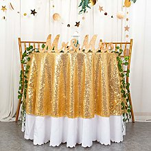 Round Tablecloth Gold 48 Inches Sequin Tablecloth