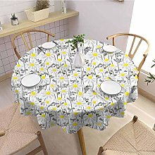 Round tablecloth printing Yellow As a gift Pattern