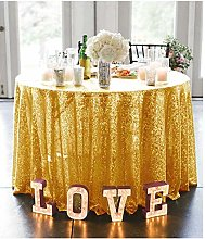 Round Tablecloth Sequin Tablecloth Gold 72