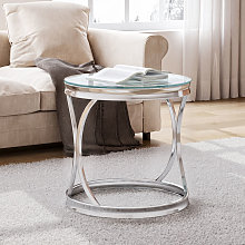 Round Tempered Glass Side End Coffee Table Sofa