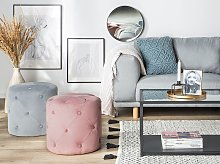 Round Tufted Pink Ottoman Pouffe Quilted Footstool