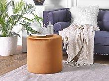 Round Velvet Orange Ottoman Pouffe Footstool
