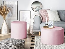 Round Velvet Pink Ottoman Pouffe Footstool Glam