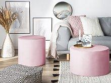 Round Velvet Pink Ottoman Pouffe Footstool