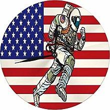 Round Wall Clock American Astronaut Patriot Runs
