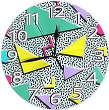 Round Wall Clock Funky 90s Patterns Retro Vintage