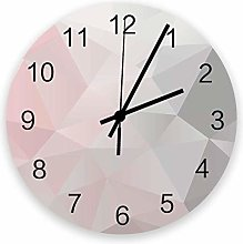 Round Wall Clock,Geometric Pink and Grey Ombre