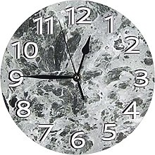 Round Wall Clock,Gray And White Marble Texture
