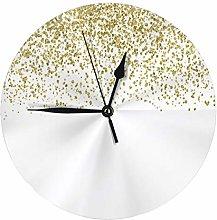 Round Wall Clock Sparkling Gold Glitter Confetti