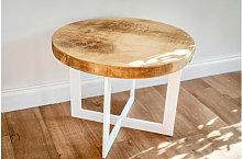 Round White Frame Coffee Table 90 cm