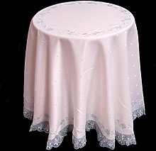 Round White Polka Dot Weave Tablecloth with Blue