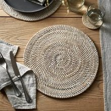 Round Whitewashed Rattan Placemat, White, One Size