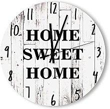 Round Wood Wall Clock Home Decor,Shabby Chic White
