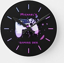 Round Wooden Wall Clock, Personalized Gaming Den